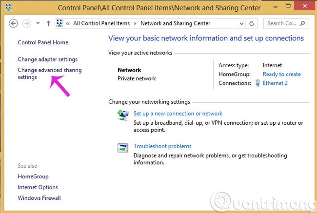 Nhấn Change advanced sharing settings